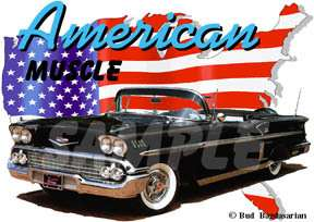 1958 Black Chevy Impala Convertible Hot Rod USA T Shirt