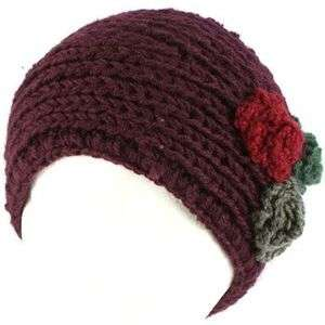 Winter 3 Flower Adjustable Hand Knit Handmade Wide Headwrap Headband