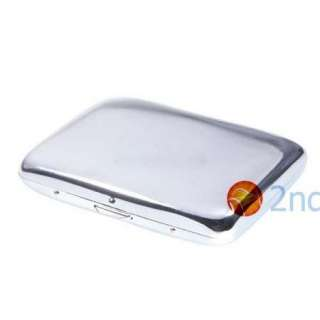 Silver Metal Two Sided 16 Cigarette Carry Case Holder
