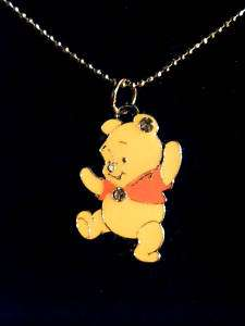 Winnie the Pooh necklace silver chain 1 charm w/ gems