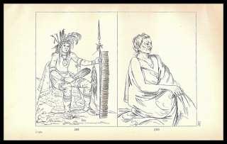 Print BW 150 George CATLIN Portrait CHIPPEWA Indian