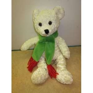 AMERI SUISSE 10 White XMAS Bear with Green Scarf