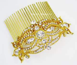 Gold Bridal Clear Swarovski Crystal Hair Comb C5121G