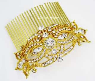 Gold Bridal Clear Swarovski Crystal Hair Comb C5121G