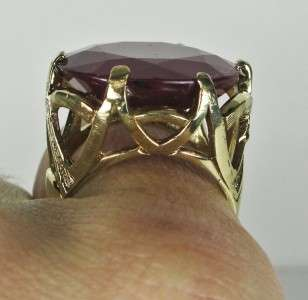 5199 Victorian 10k Yellow Gold 23.96ctw Cushion Cut African Ruby Ring