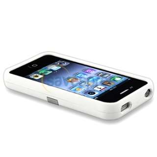 White w/ Chrome Stand Hard CASE Cover+PRIVACY LCD FILTER for iPhone 4