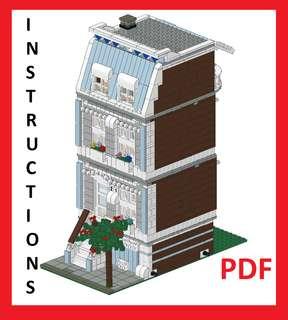 Lego Custom Modular Building Blue House INSTRUCTIONS ONLY!!