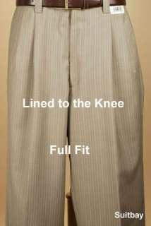 60L Suit STEVE HARVEY Taupe Stripe Mens Suit   XH76