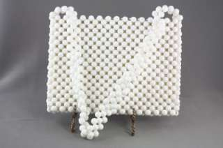 Vintage Ladies Purse Lady Ellen White Plastic Bead MOD