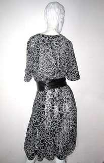 Vtg 80s ROSE floral Black WHITE sheer TENT mod Dress OS features
