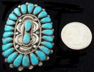 Vntg OLD PAWN Native American Sterling Silver +Turquoise Pettipoint