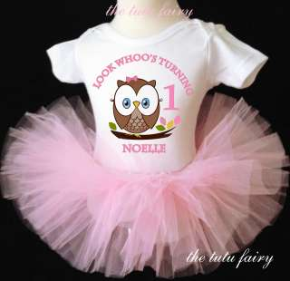 Look Whoos One Two 1 Birthday Girl Owl outfit set light pink tutu