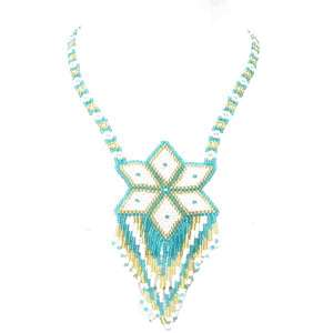 SEA GREEN WHITE GOLDEN SEED BEADED STAR LARIAT NECKLACE