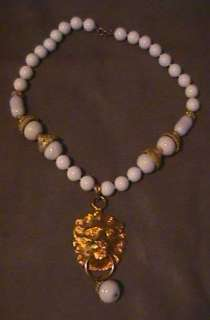 LARGE DONALD STANNARD WHITE & GOLD LION HEAD NECKLACE