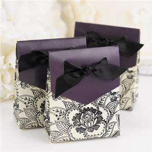 Favor Candy Floral Purple Black White Tent Gift Boxes Ribbon