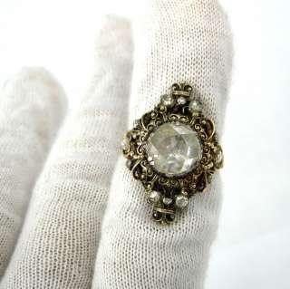 Antique Georgian 2.5ct Rose Cut & 0.50ct Diamond Silver & Gold Ring