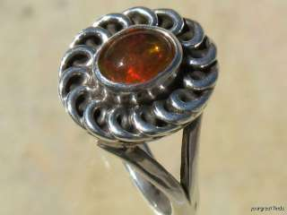 MEXICAN 925 STERLING SILVER & JELLY FIRE OPAL RING