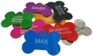 Engraved Pet ID Tag Bone  Pet ID