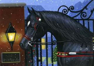 Black horse Christmas sleigh winter snow iron gate limited edition