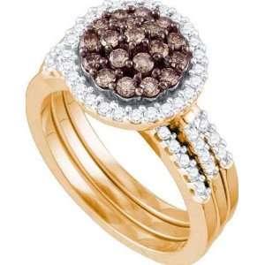 10k Rose Gold Ring 1.01 ct Rich Chocolate Diamond Center