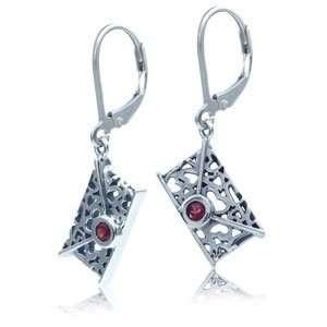 REAL Red Garnet Silver Filigree ENVELOPE Earrings Jewelry