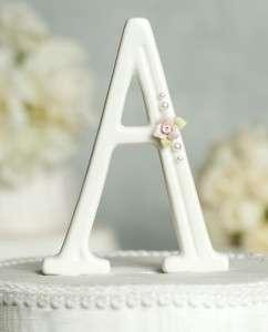 White Rose Pearl Monogram Letter Wedding Cake Topper