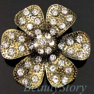 SHIPPING antiqued rhinestone crystal flower brooch pin wedding