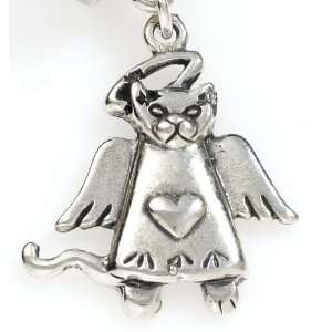 .925 Silver Kitty Cat Angel, Traditional Charm Great For