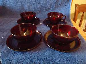 Anchor Hocking Royal Ruby Cups & Saucers 4 sets
