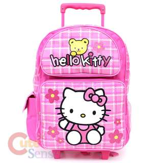 Kitty Large School Roler Bag Rolling Backpack Pink Teddy Bear 1