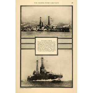 1916 Print USS Oklahoma Arizona California Naval Ship