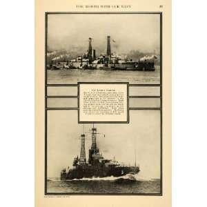 1916 Prin USS Oklahoma Arizona California Naval Ship