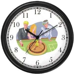 Roulette Wheel Game Gambling or Casino Theme Wall Clock by