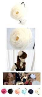 VOLUMINOUS CHIFFON FLOWER HEADBAND HAIR CORSAGE WHITE