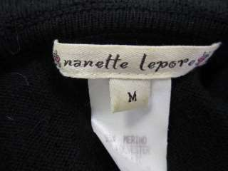 NANETTE LEPORE Black Ruffle Sweater Dress Sz M