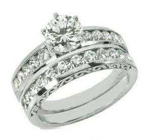 10 CT. MOISSANITE ENGAGEMENT RING & WEDDING BAND SET