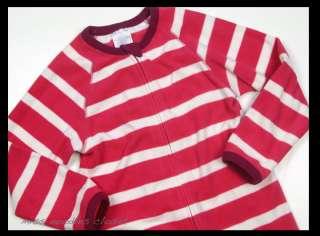 Girls LANDS END Fleece Zipper Footie Pajamas 6 jm