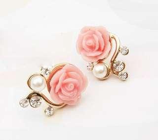 Korean Style OL Pink Rose Flower Shiny Crystal Rhinestone Imitation