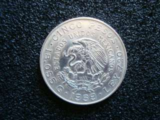 1959 MEXICO 5/CINCO PESOS SILVER COIN CARRANZAS BIRTH