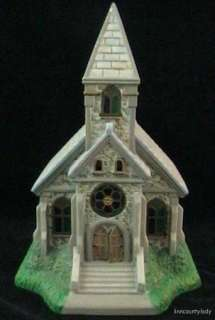 Retired PartyLite Olde World Village Church Christmas Tealight Stained