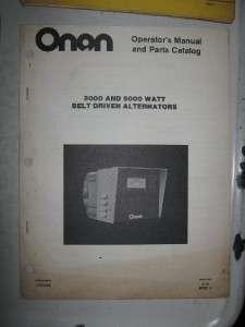 Onan Operator & Parts Manual Belt Driven Alternators