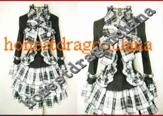 Gothic Lolita Dress cosplay costume Punk Custom Made White Grid All