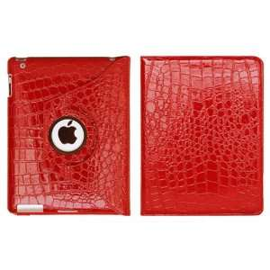 Apple Ipad 2 Crocodile Skin Red Leather Case with 360 Degree Rotating