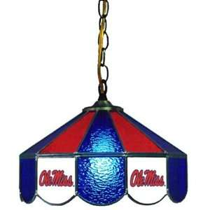 Mississippi Rebels 14 Stained Glass Hanging Lamp  Sports
