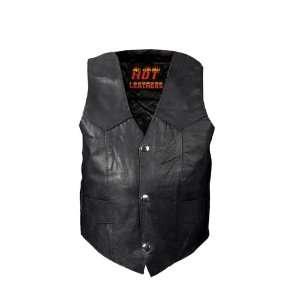 Hot Leathers Black Medium Youth Classic Biker Vest