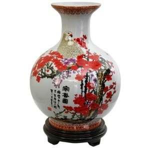 Oriental Furniture 14 Vase with Cherry Blossom Design in
