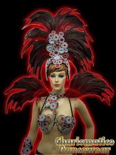 SAMBA RIO CARNIVAL FEATHER COSTUME+HEADDRESS+Collar+Ankles Sets