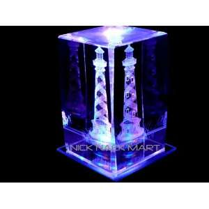 LIGHTHOUSE S1 3D LASER ETCHED CRYSTAL with DISPLAY LIGHT