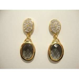 Earrings Oval Pave Top Yellow Gold