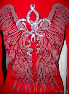 VOCAL SEXY Red ANGEL Tattoo Rhinestone FLEUR DE LIS Thermal Plunge Top